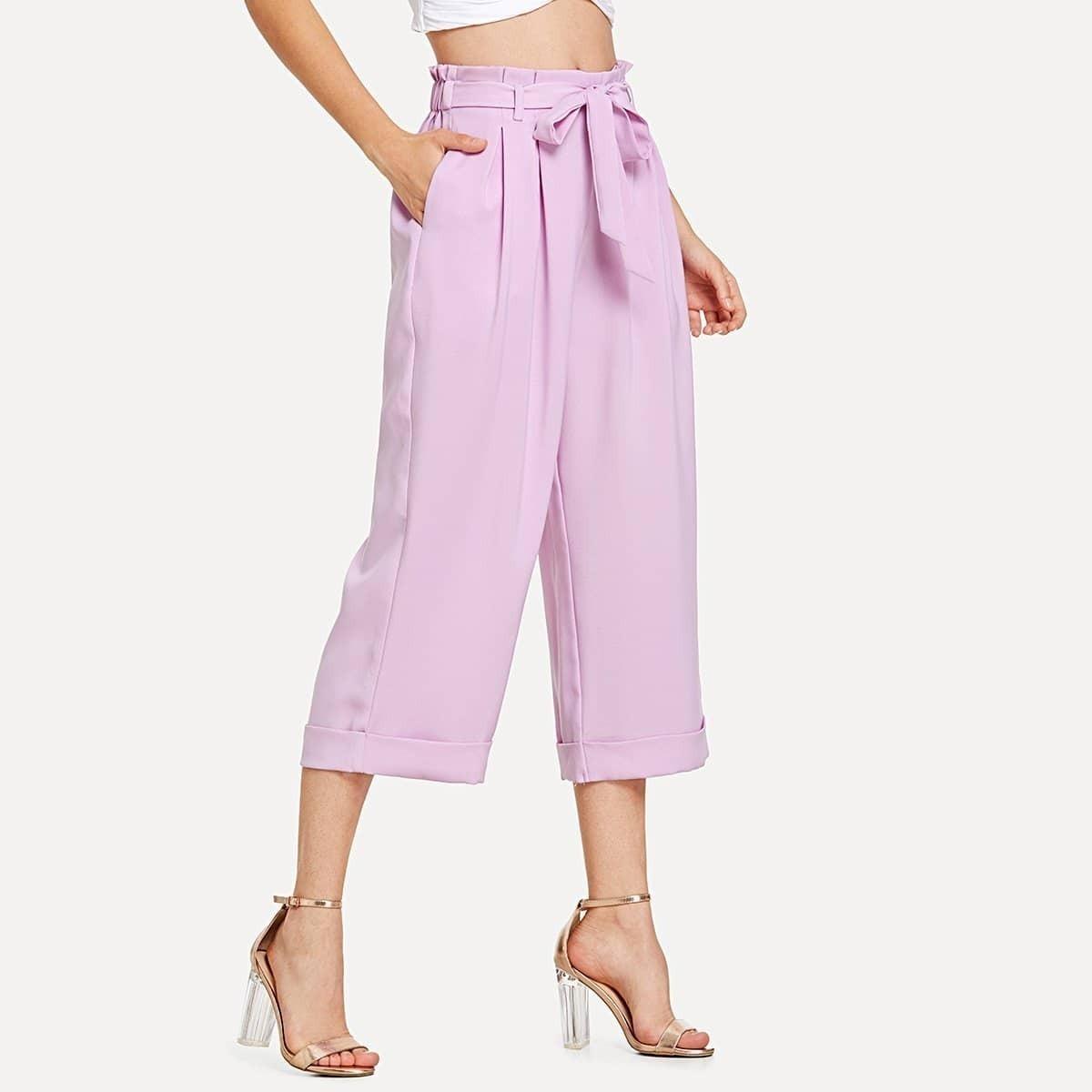 - Tie Waist Fold Pleat Detail Culotte Pants