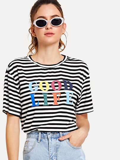 23f7a9024c5eb Letter Print Striped Boxy T-shirt