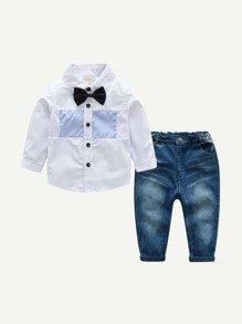 Toddler Boys Bow Tie Detail Shirt With Jeans