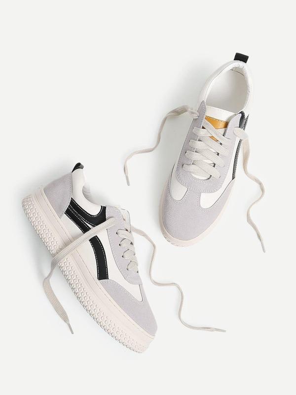 Lace Up Splice Platform Sneakers