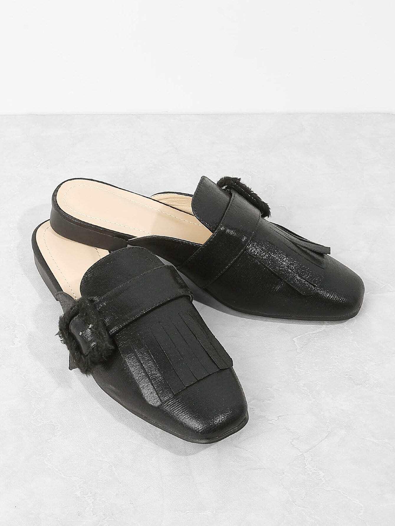 1a0a565cc6e Faux Fur Detail Square Toe Flats EmmaCloth-Women Fast Fashion Online