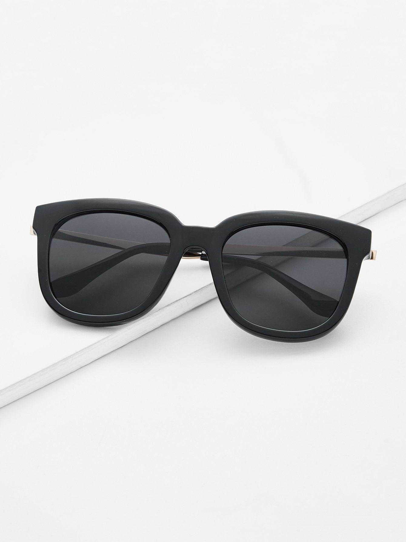 Gafas de sol lentes negro talla grande cuadrado -Spanish Romwe