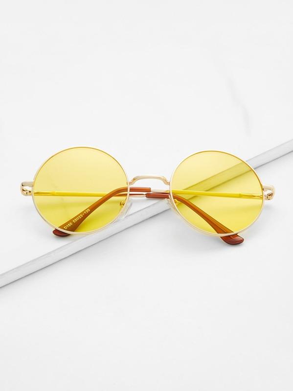 774cd8b178 Metal Frame Yellow Round Lens Retro Style Sunglasses | SHEIN UK