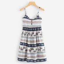 Geo Print Button Front Cami Dress dress180416189