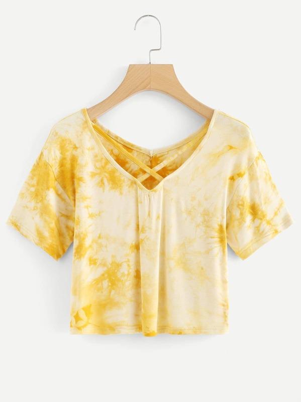 2293250d9cbf6d Tie Dye Criss Cross Back Crop T-shirt
