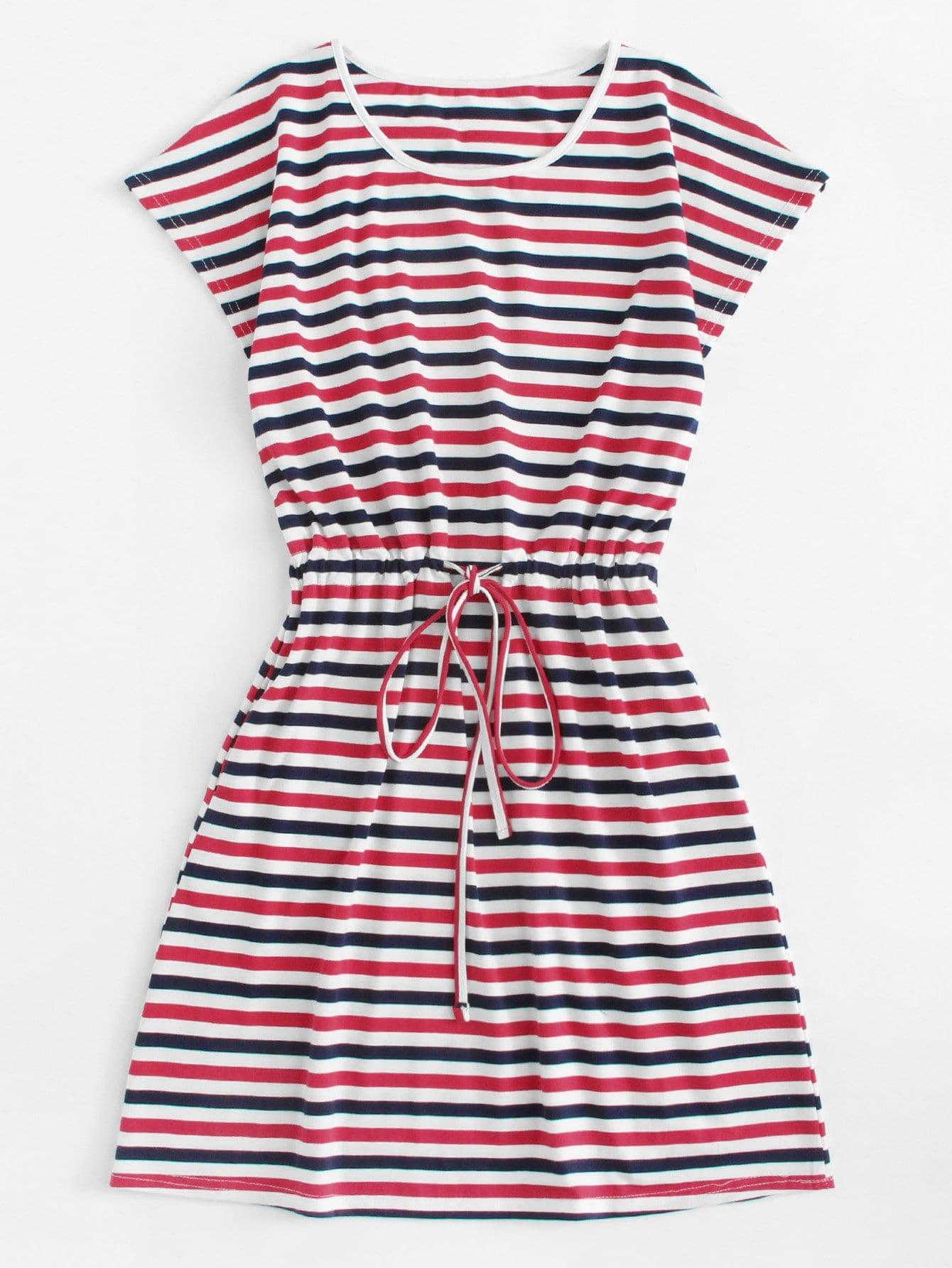 Vestido de rayas de cintura con cordón -Spanish Romwe