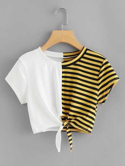 Camiseta corta de rayas en contraste con nudo delantero