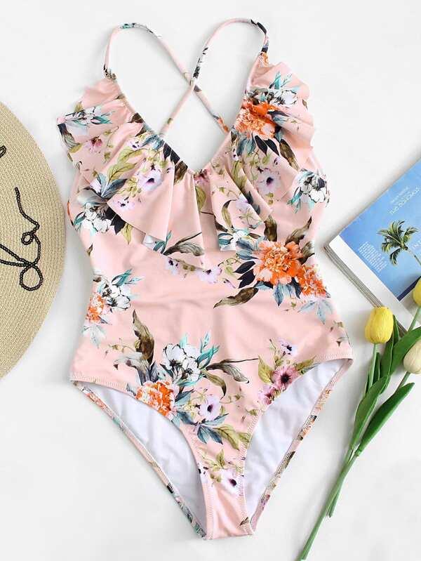 Flounce Neckline Botanical Swimsuit