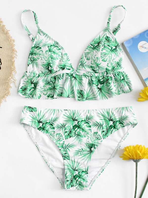 e10091ff90b08 Ruffle Hem Palm Leaf Print Bikini Set | SHEIN UK