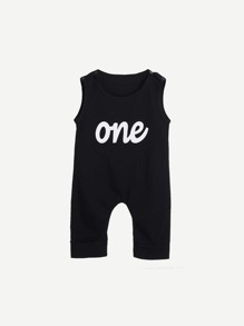 Toddler Boys Letter Print Romper