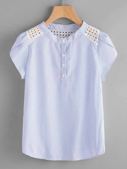 Embroidered Eyelet Yoke Striped Shirt