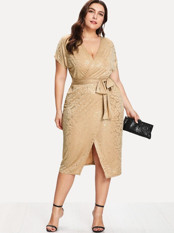 Plus Gold Print Wrap Split Front Belted Dress | SHEIN
