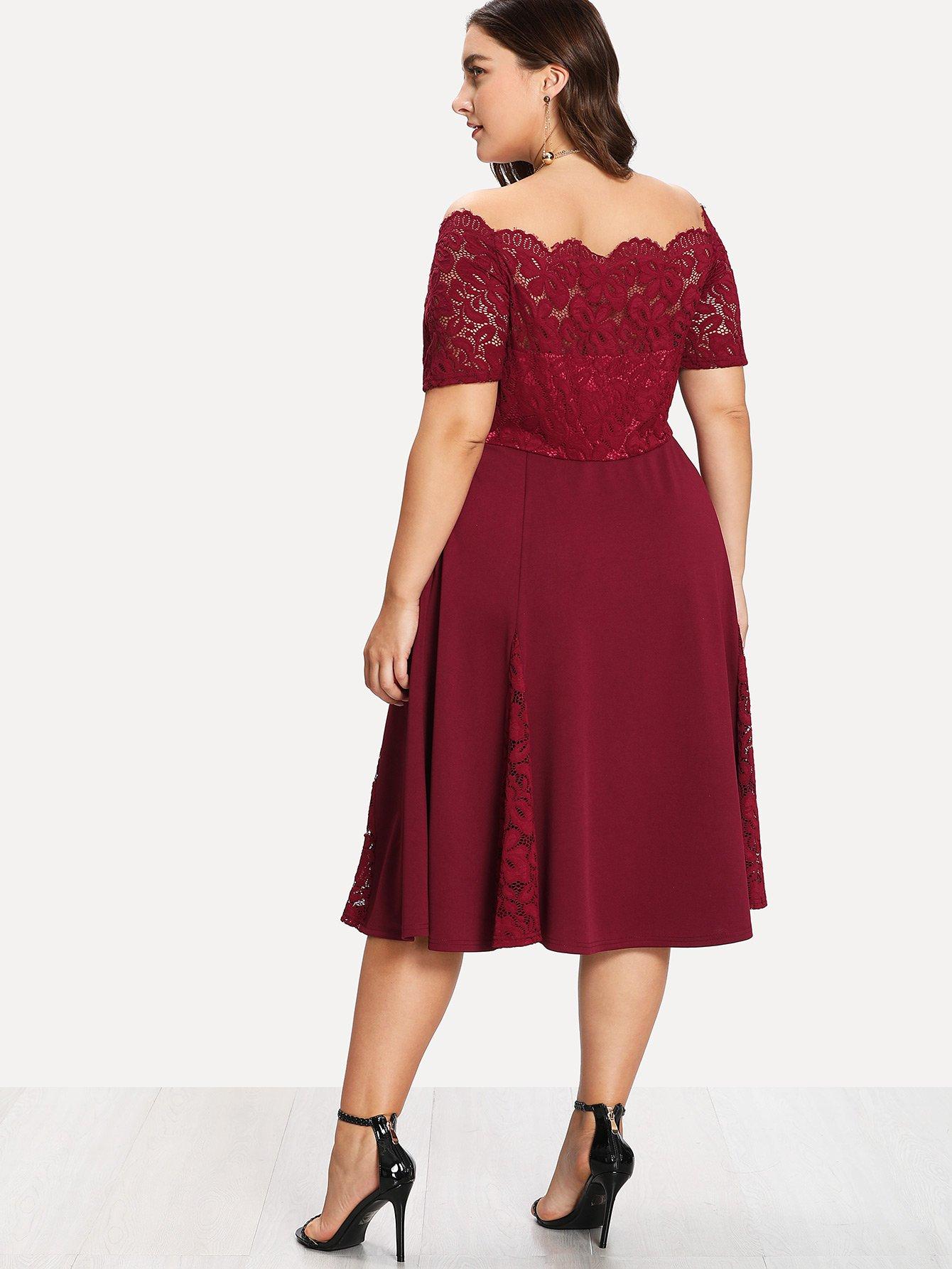 65a40a852d Plus Guipure Lace Bodice Off Shoulder Dress | SHEIN