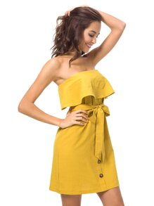 Ruffle Layered Tie Front Bandeau Dress