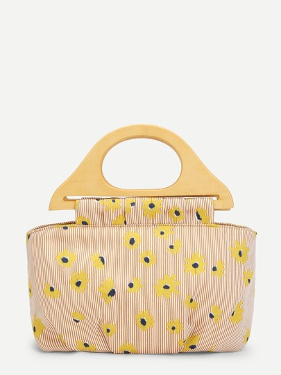 Wooden Handle Floral Tote Bag