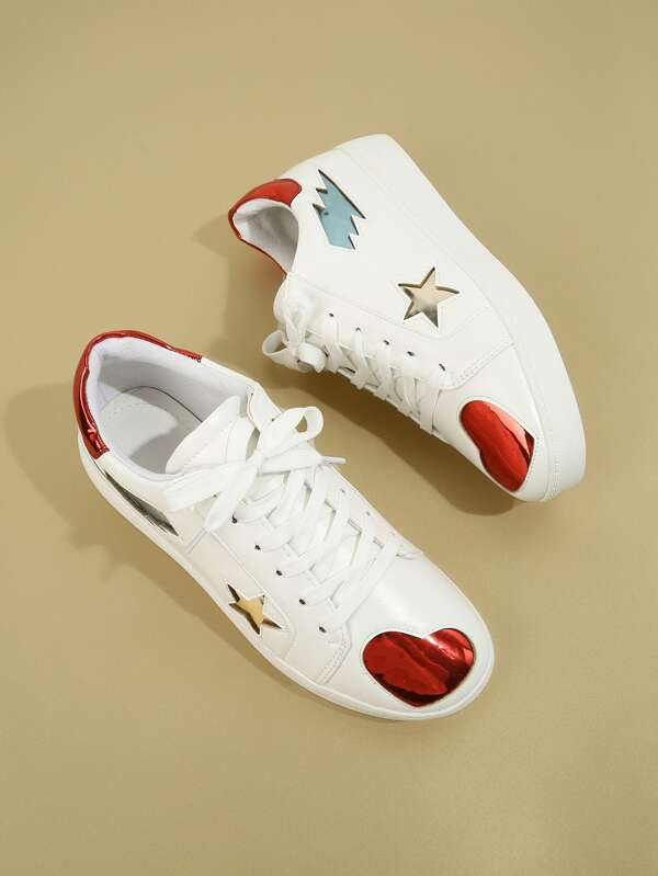 Star & Heart Pattern Sneakers