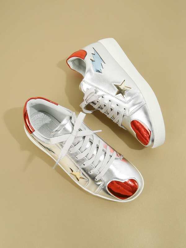 Star & Heart Pattern Sneakers