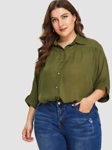 Plus Batwing Sleeve Button Front Blouse