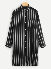 Chest Pocket Striped Shirt Dress