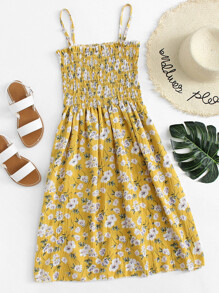 Floral Print Pleated Cami Dress