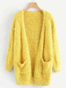 Pocket Front Fuzzy Sweater Coat