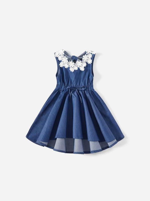 182307ec0e Toddler S Contrast Lace Knot Back Dip Hem Denim Dress Shein