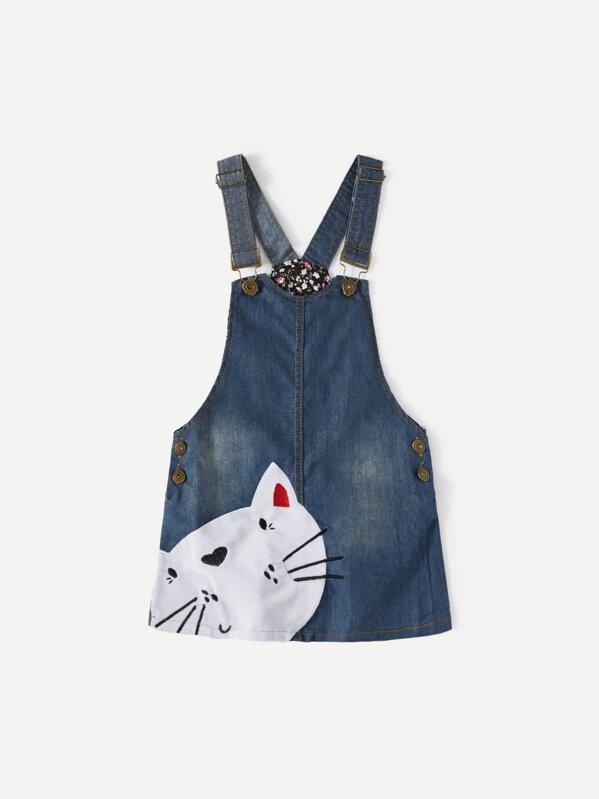 05cd481d4d Toddler Girls Cat Embroidered Denim Overall Dress