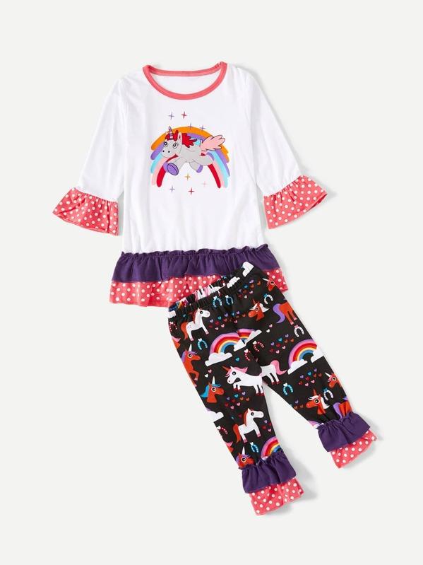 38fe9c916 Camiseta de niñas ribete fruncido con estampado de unicornio con pantalones
