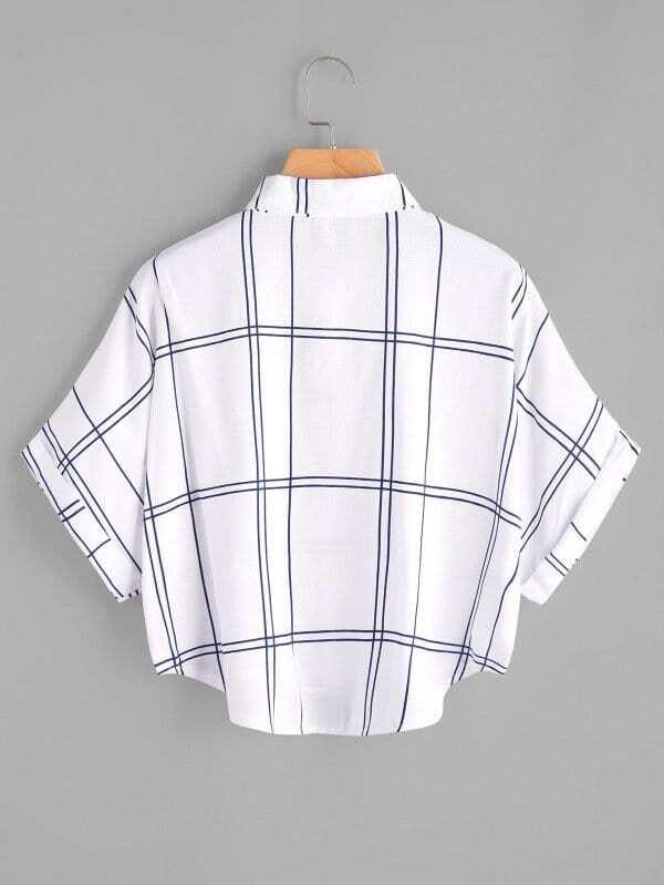 b4884d6713 Blusa de manga de doblez con estampado de cuadrados