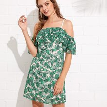 Palm Leaf Print Flounce Embellished Cami Dress dress180417712