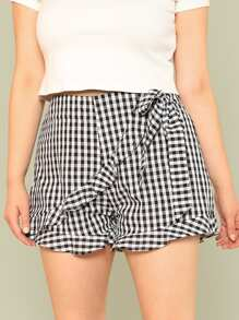 Plus Knot Waist Ruffle Hem Wrap Gingham Shorts