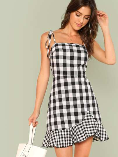 Ruffle Hem Plaid Cami Dress