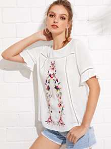Flower Embroidered Cut Out Detail Top