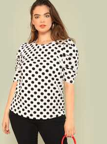 Plus Polka Dot Puff Sleeve Top