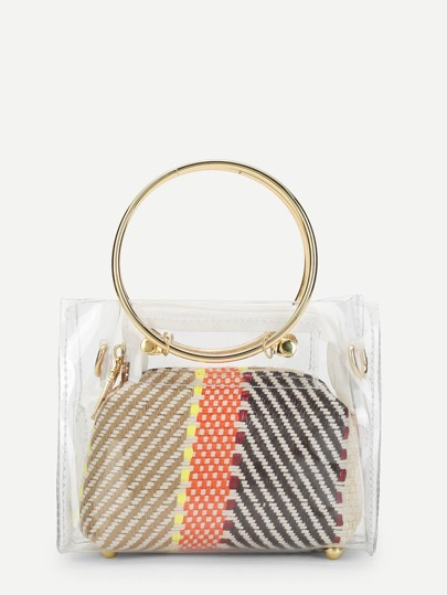 Clear Detail Ring Handle Woven Bag
