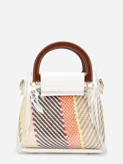 Clear Detail Double Handle Woven Bag