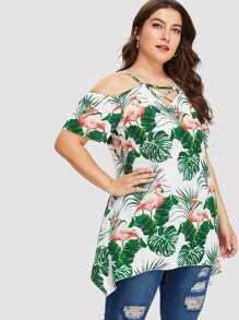 flamingo print criss cross detail blouse