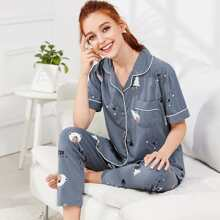 Purple Casual Short Sleeve Animal Pajama Sets Button Spring Loungewear, size features are:Sleeve Length : Short Sleeve,