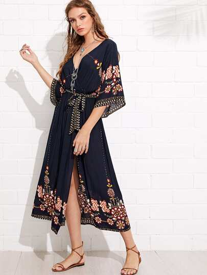 Tribal Print Surplice Belted Split Dress