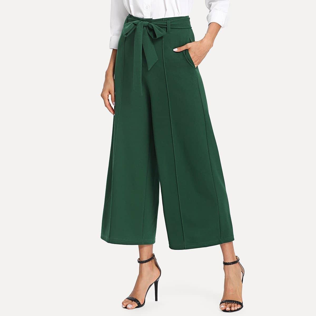 - Pocket Side Belted Culotte Pants