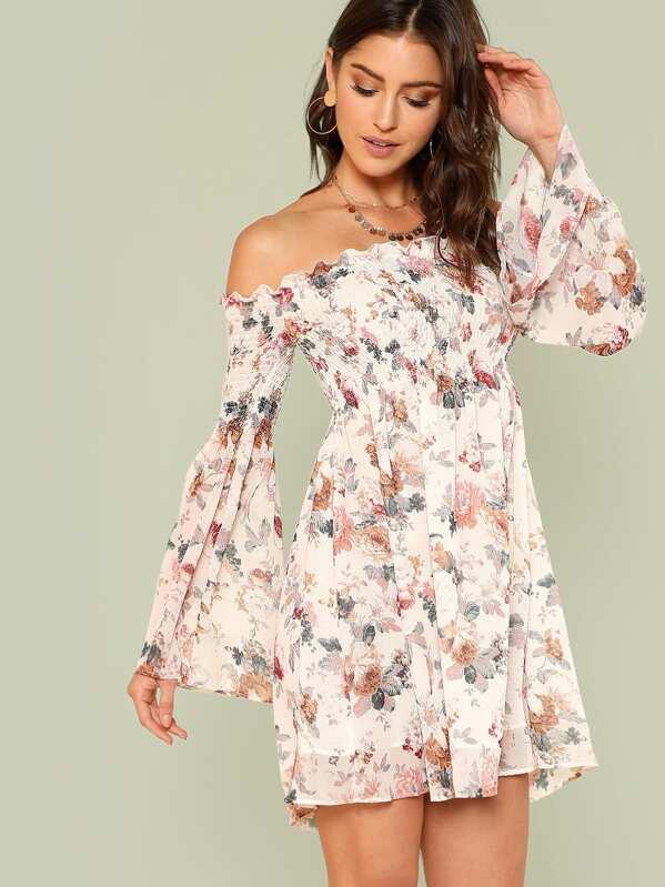 c9e1e7b2860f9 Trumpet Sleeve Bardot Smocked Floral Dress