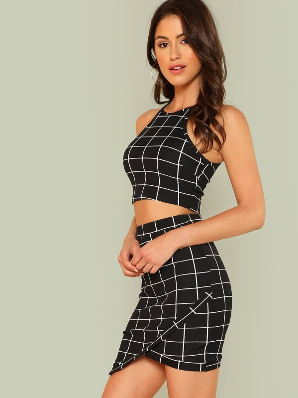 f69964be4aec2 Grid Crop Halter Top & Wrap Skirt Co-ord | SHEIN UK
