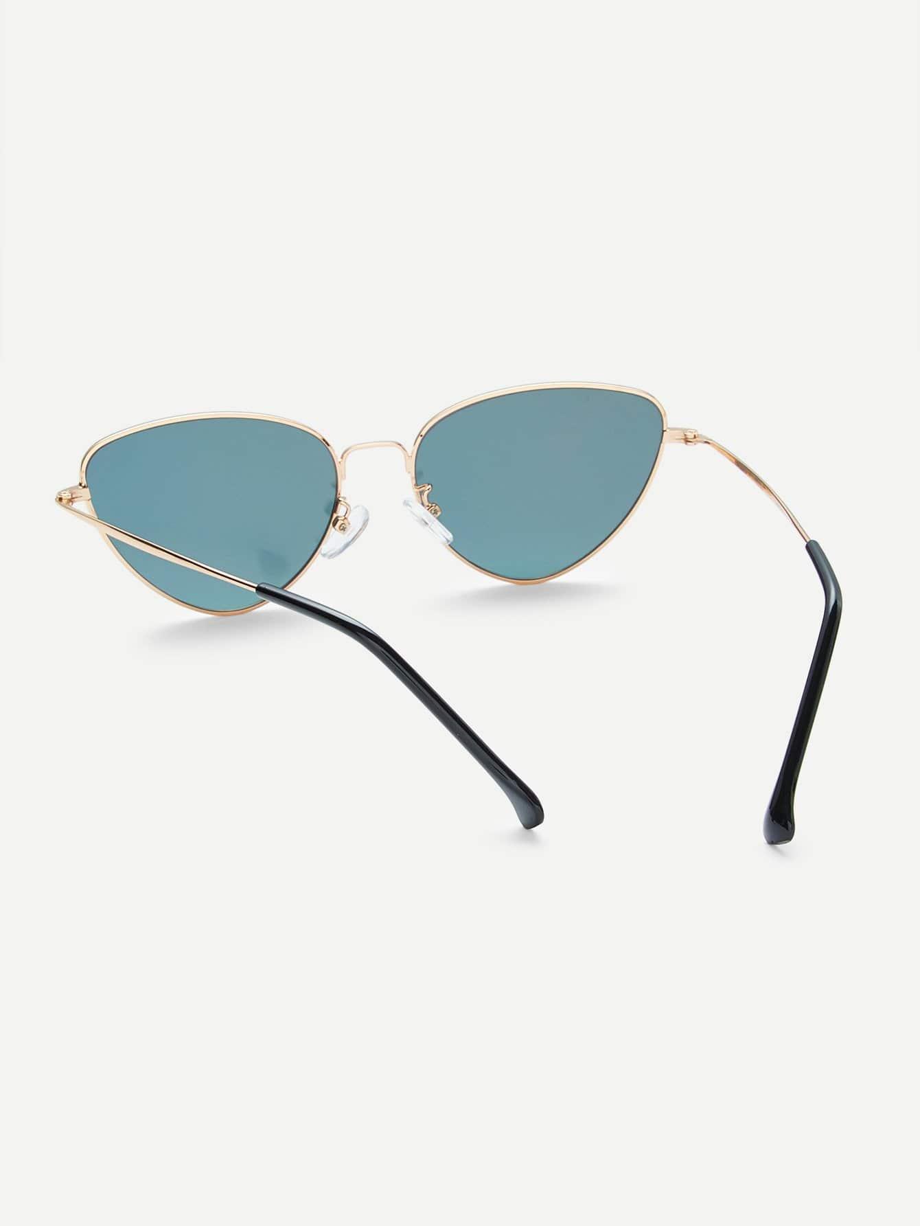 Ovale Sonnenbrille mit Metall Rahmen und Katzeaugen - German romwe