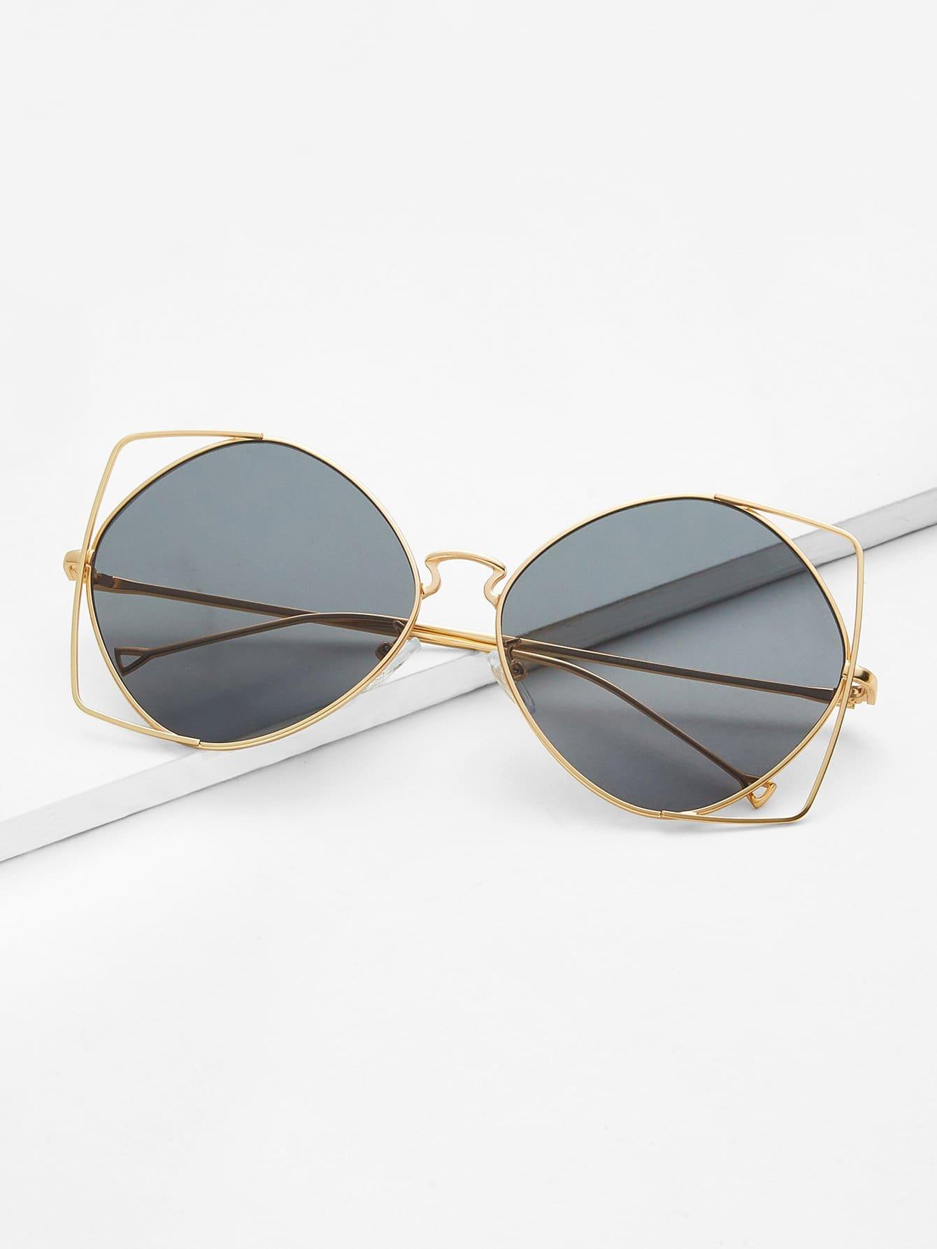 Gafas de sol en forma de ojo de gato de marco metálico -Spanish Romwe
