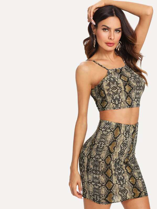 72a56903817af9 Snakeskin Print Crop Cami Top With Skirt. AddThis Sharing Buttons