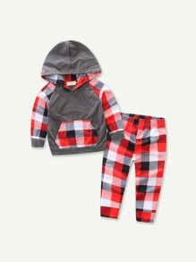 Toddler Boys Check Plaid  Hooded Sweatshirt With Pants