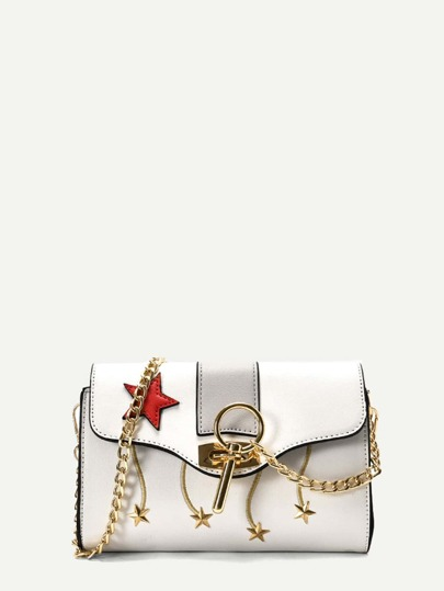 Star Patched PU Chain Bag With Key Detail
