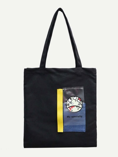 Slogan Patch Tote Bag