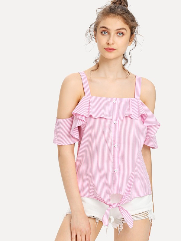 Button Up Knot Front Cold Shoulder Striped Top