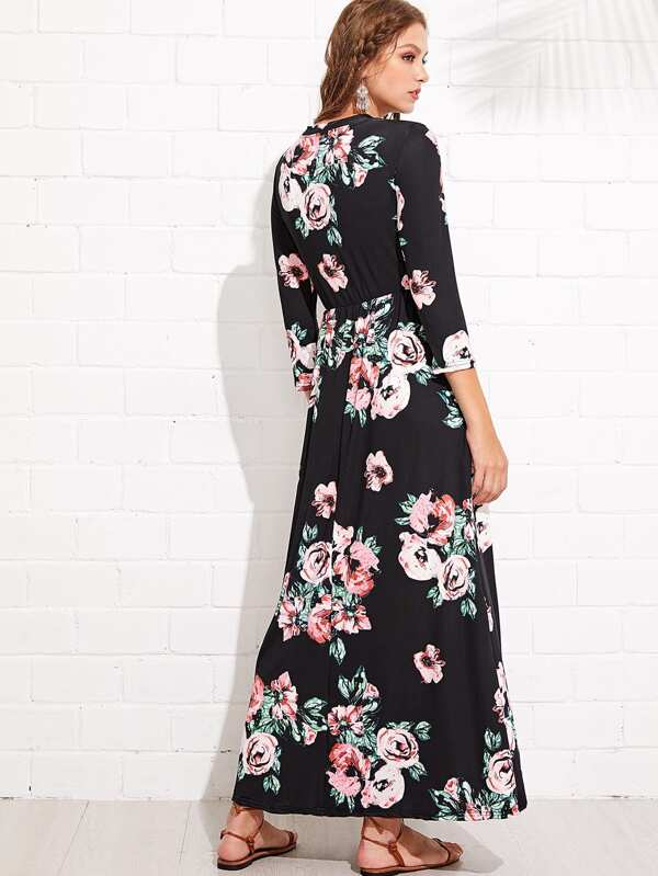 9ec30524e2 SHEIN has this pretty & budget-friendly Flower Print Long Dress for just  $15 + FREE shipping & Returns! Available in sizes S/M/L. Reviews are GREAT  and seem ...
